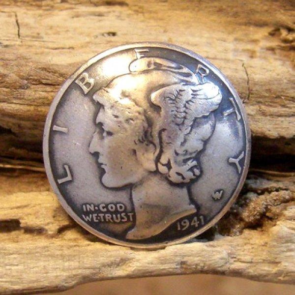 画像1: 10セント マーキュリー・ダイム コイン コンチョ (1)